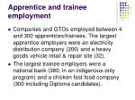 apprentice and trainee employment
