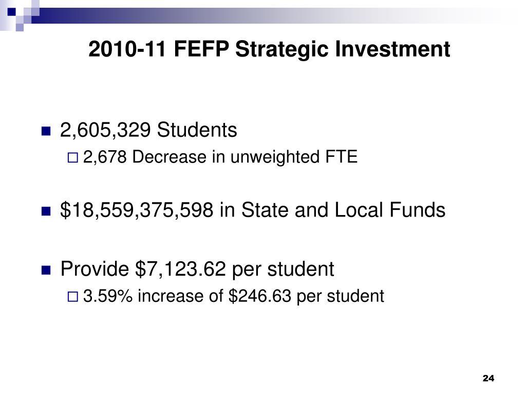 2010-11 FEFP Strategic Investment