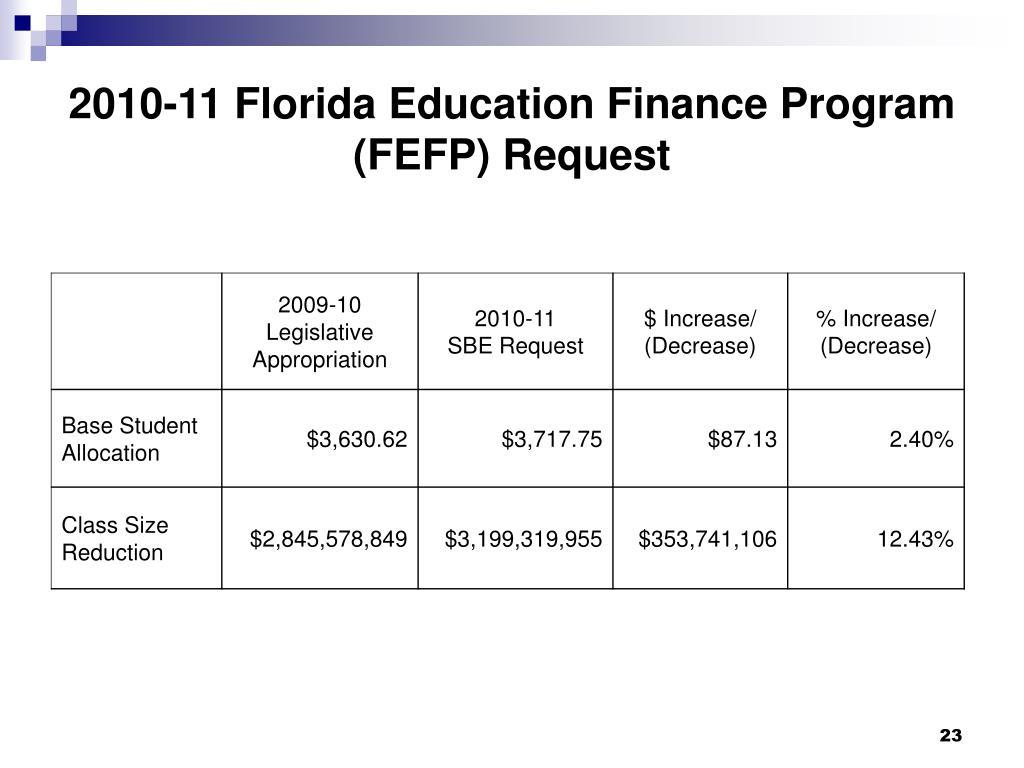 2010-11 Florida Education Finance Program (FEFP) Request
