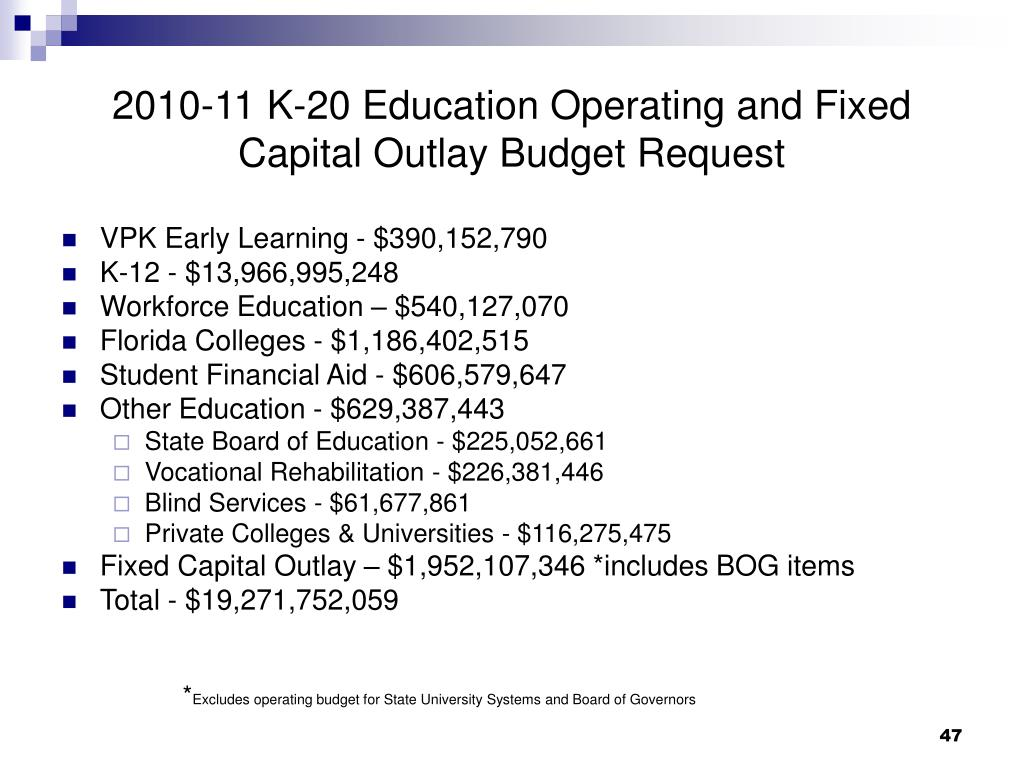 2010-11 K-20 Education Operating and Fixed Capital Outlay Budget Request