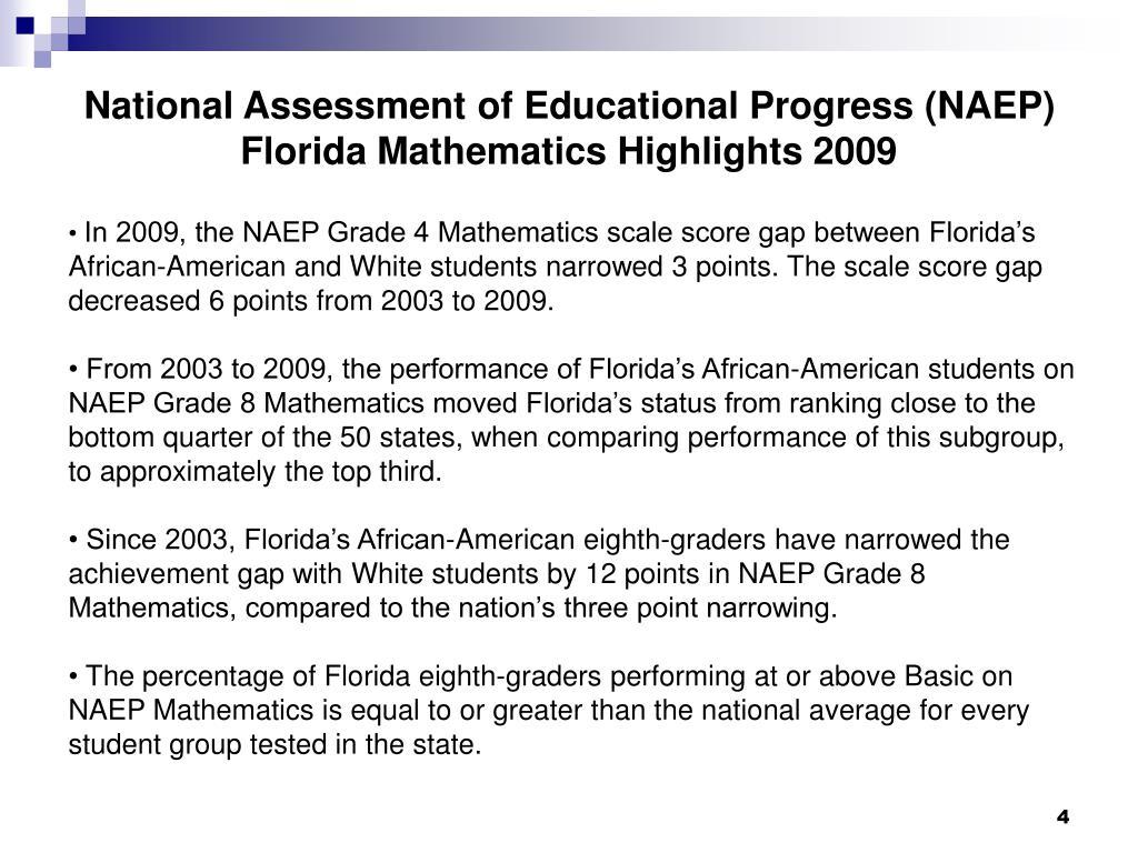 National Assessment of Educational Progress (NAEP) Florida Mathematics Highlights 2009