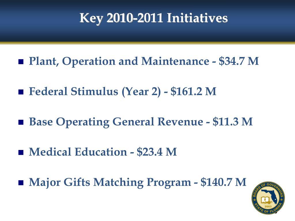 Key 2010-2011 Initiatives