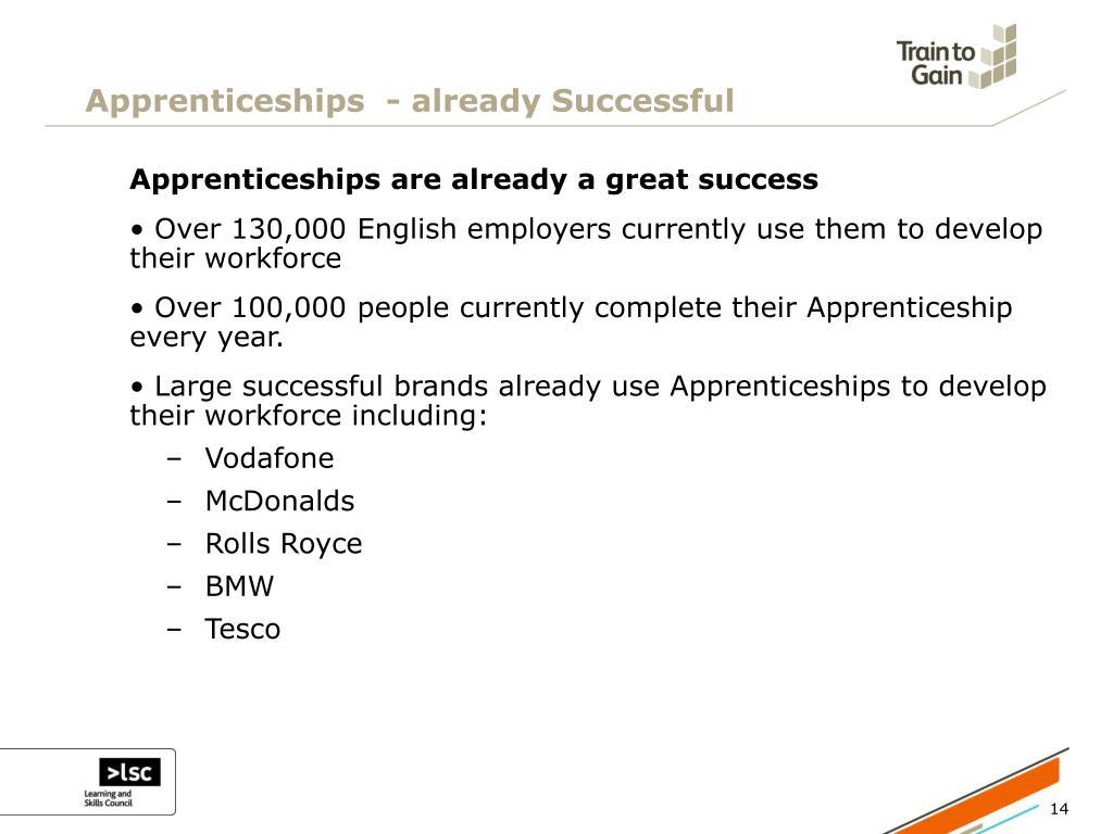 Apprenticeships  - already Successful