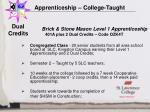 apprenticeship college taught