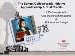 the school college work initiative apprenticeship dual credits