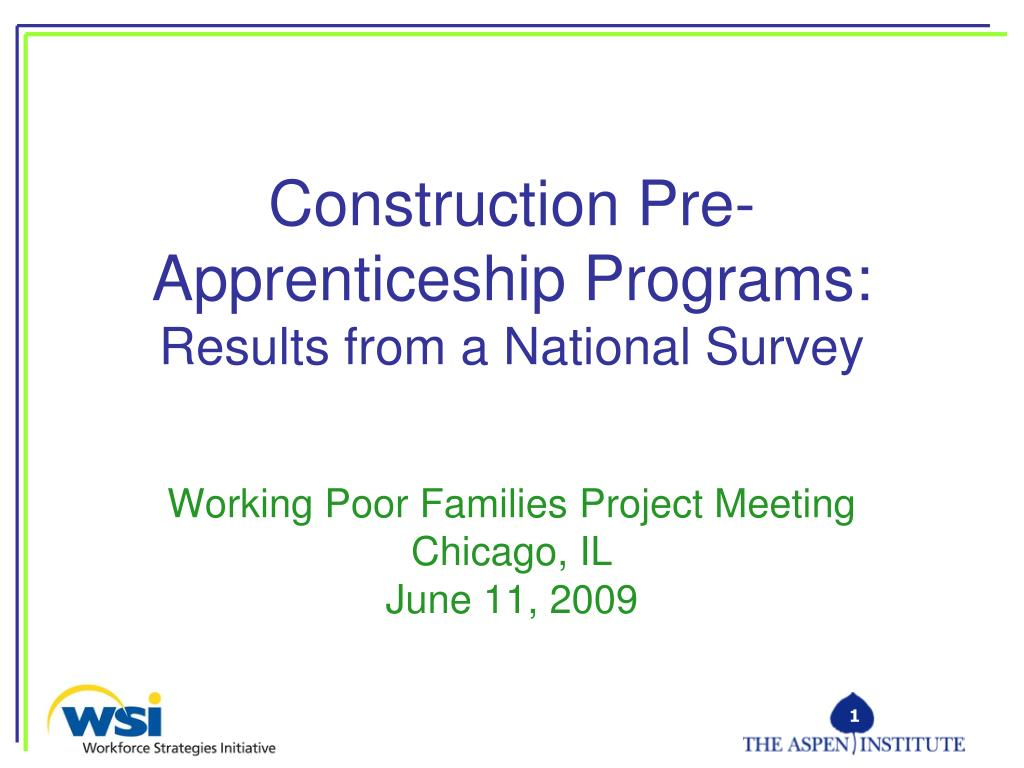 construction pre apprenticeship programs results from a national survey l.