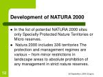 development of natura 2000