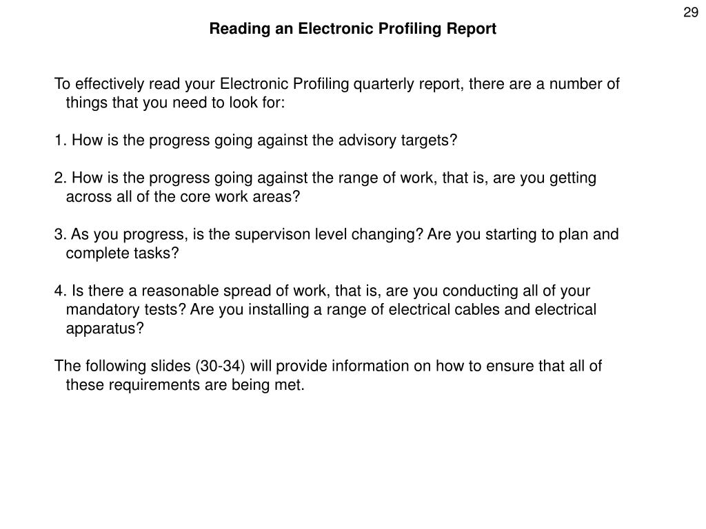 Reading an Electronic Profiling Report
