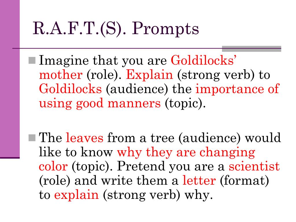 R.A.F.T.(S). Prompts
