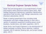 electrical engineer sample duties