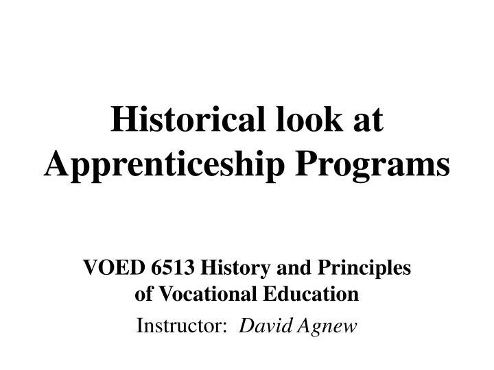historical look at apprenticeship programs n.