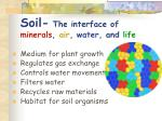 soil the interface of minerals air water and life