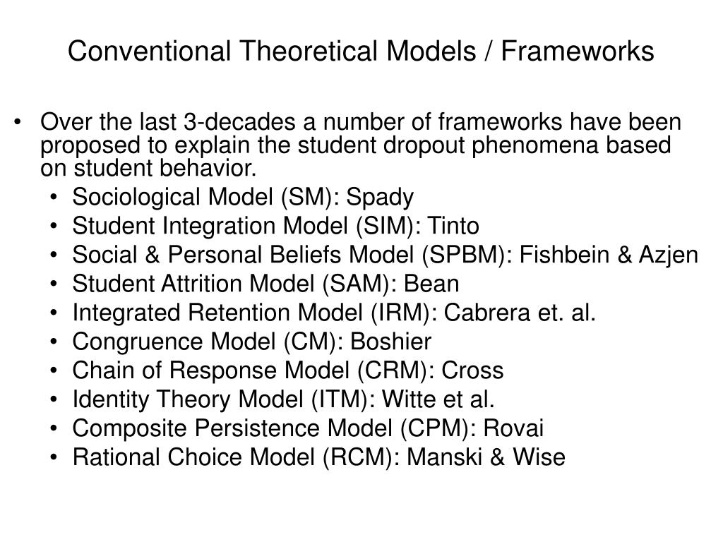 Conventional Theoretical Models / Frameworks