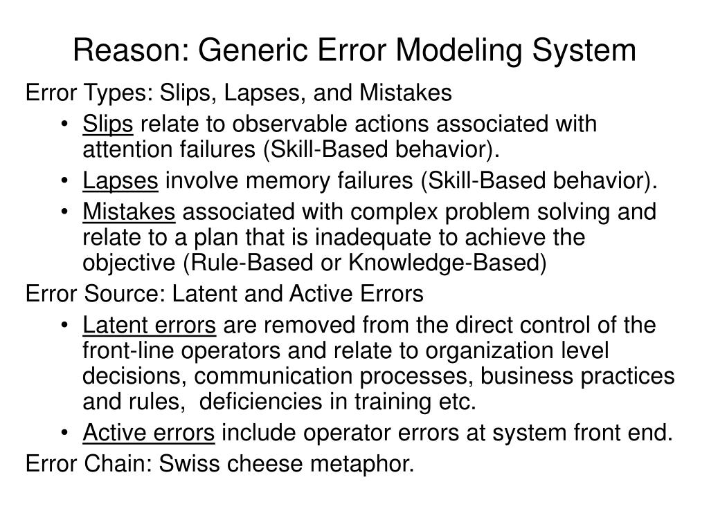 Reason: Generic Error Modeling System