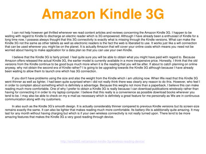 Amazon kindle 3g3