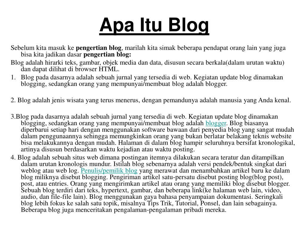 apa itu blog l.