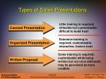 types of sales presentations