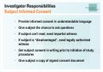 investigator responsibilities subject informed consent26