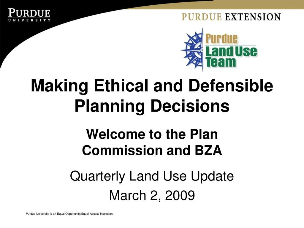 making ethical and defensible planning decisions l.