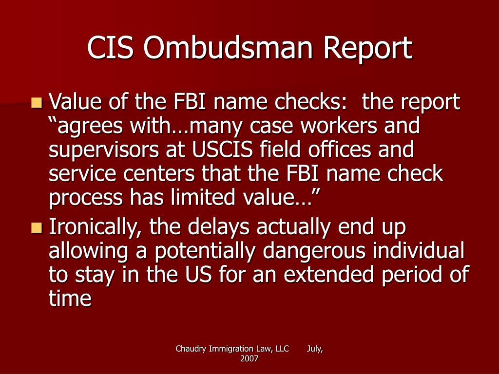 CIS Ombudsman Report