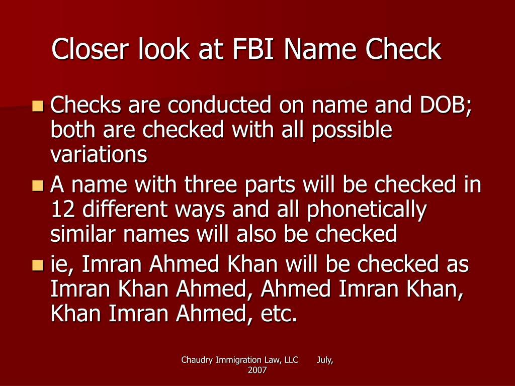 Closer look at FBI Name Check