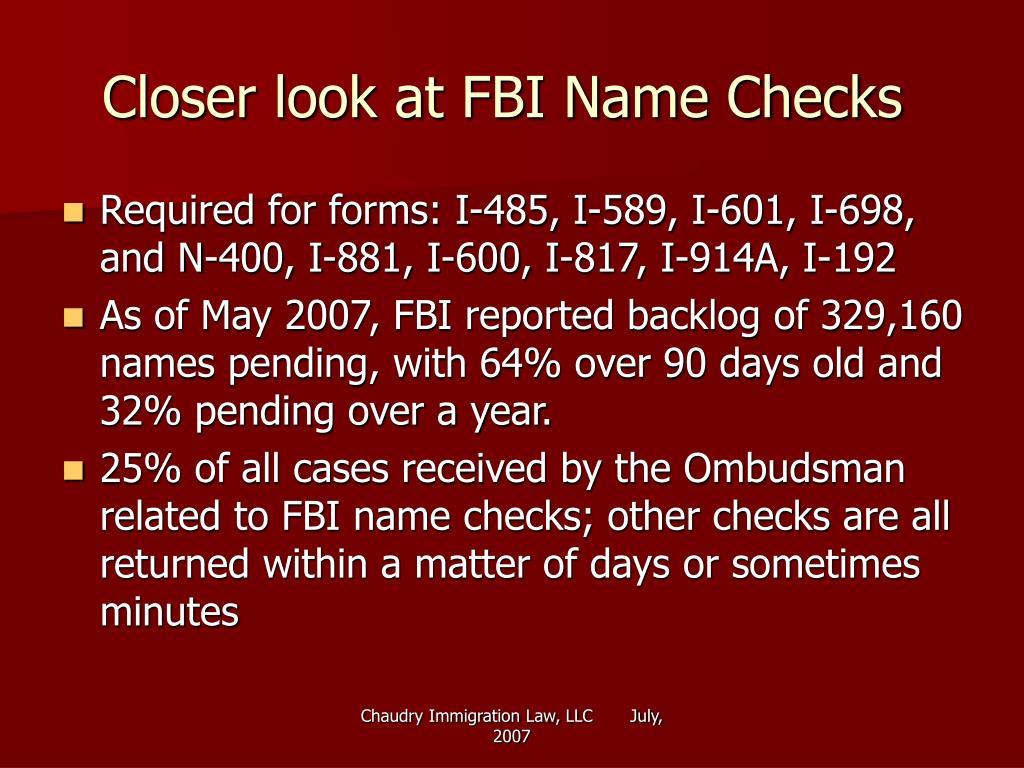 Closer look at FBI Name Checks