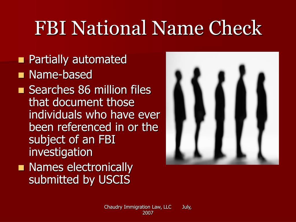 FBI National Name Check