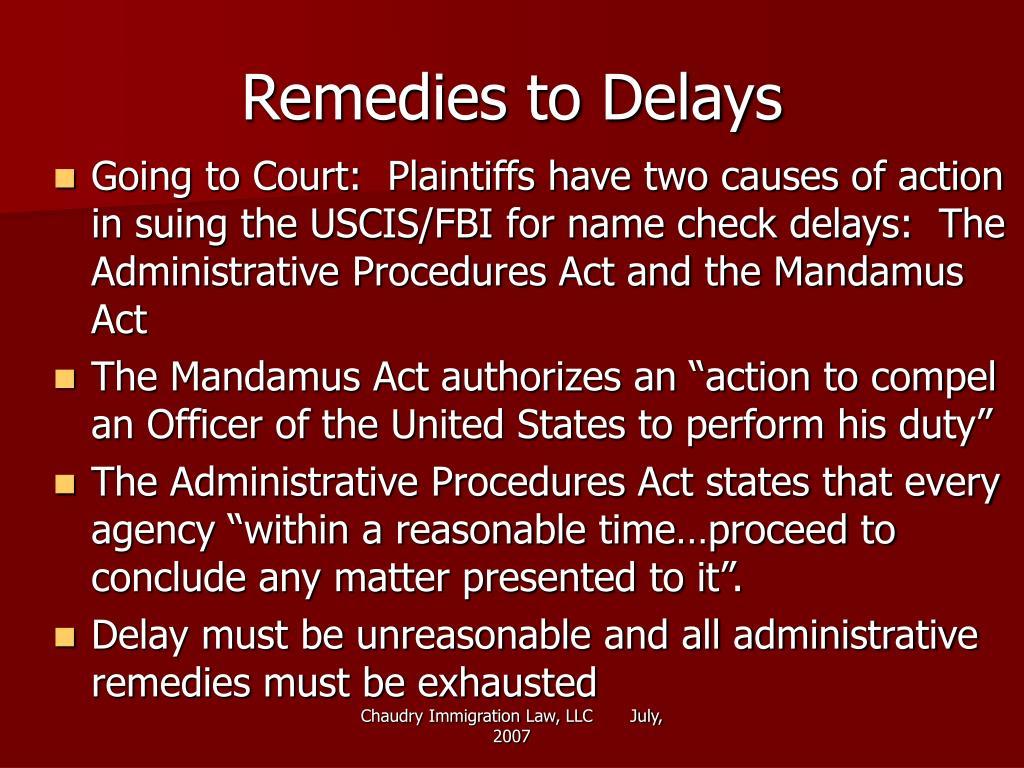 Remedies to Delays