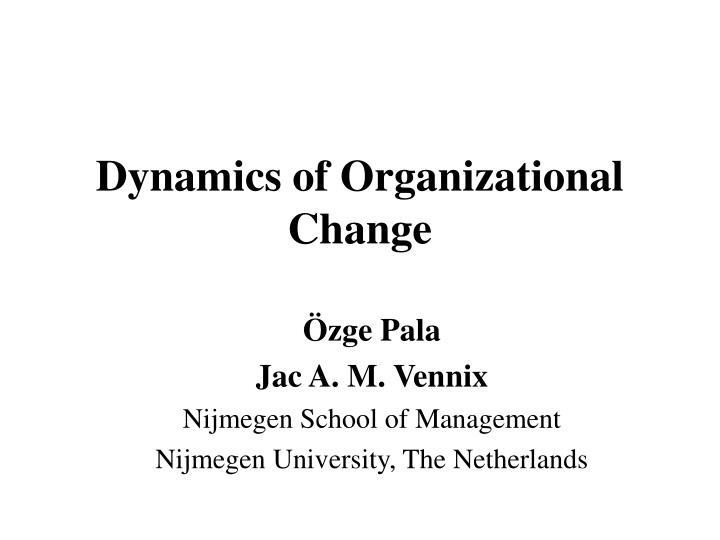 dynamics of organizational change n.