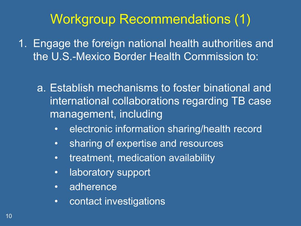 Workgroup Recommendations (1)