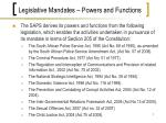 legislative mandates powers and functions