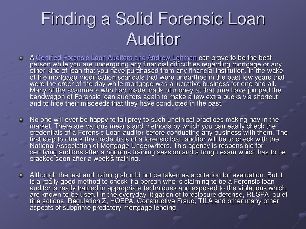 finding a solid forensic loan auditor l.
