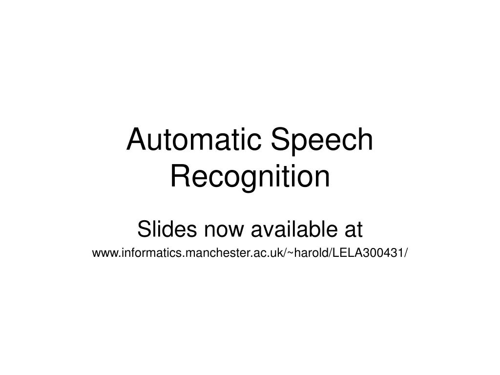 automatic speech recognition l.