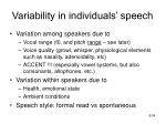 variability in individuals speech