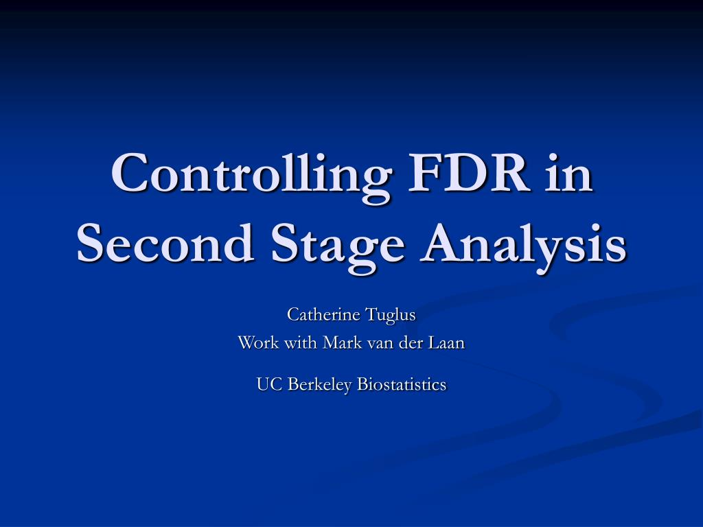controlling fdr in second stage analysis l.