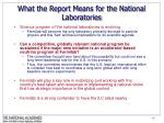 what the report means for the national laboratories