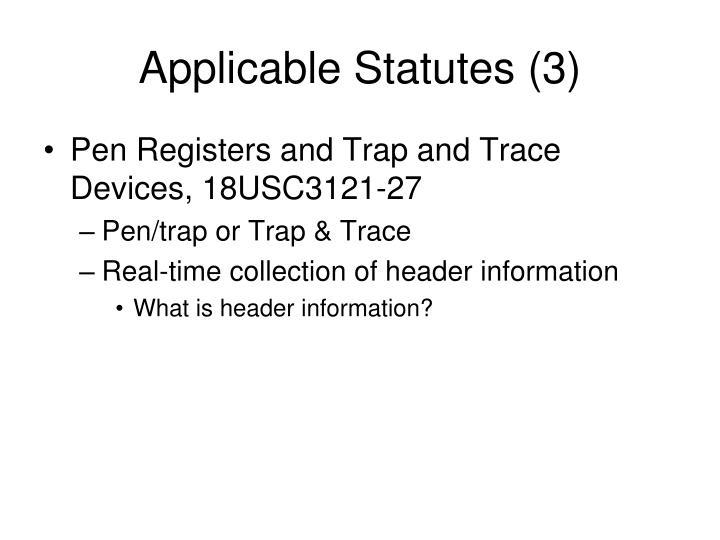 Applicable Statutes (3)
