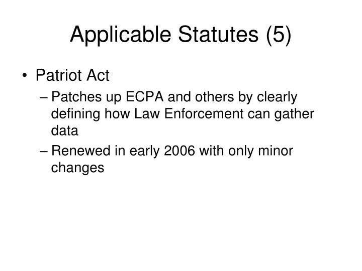 Applicable Statutes (5)