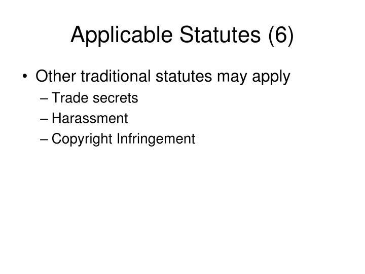 Applicable Statutes (6)