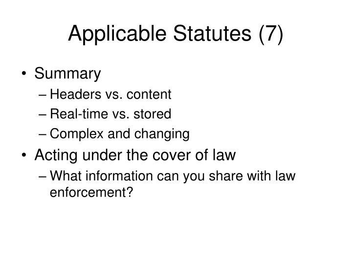 Applicable Statutes (7)