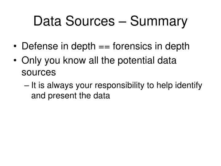 Data Sources – Summary