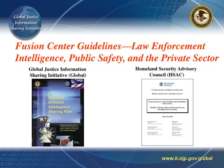 Fusion center guidelines law enforcement intelligence public safety and the private sector