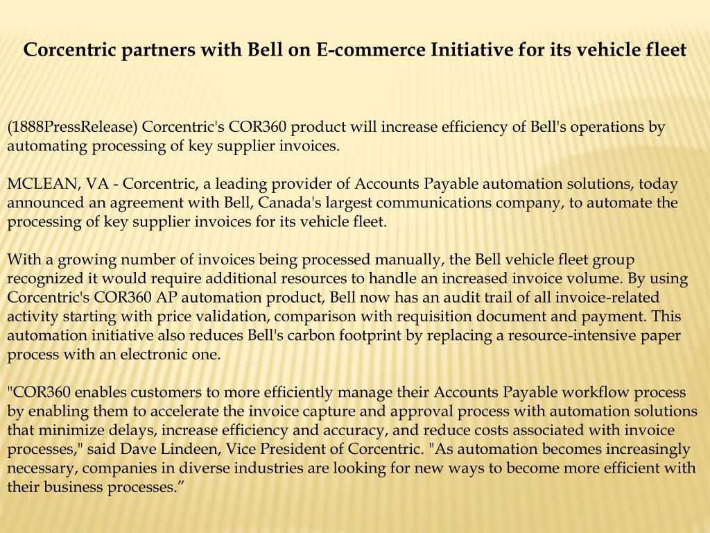 Corcentric partners with Bell on E-commerce Initiative for its vehicle fleet