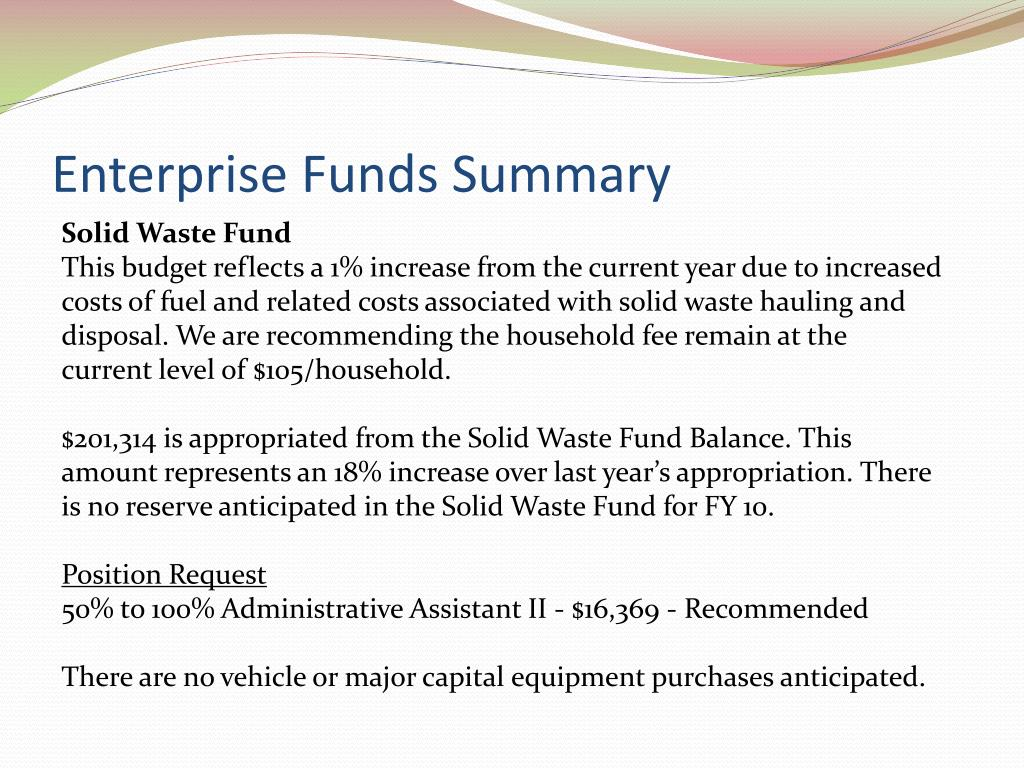 Enterprise Funds Summary