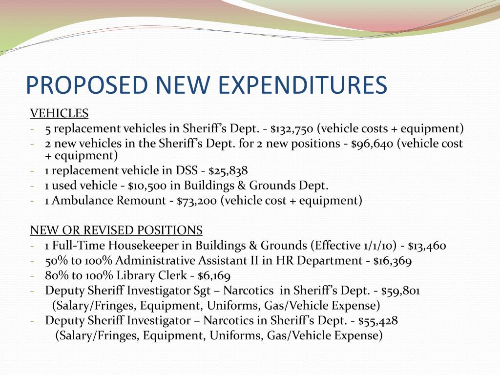PROPOSED NEW EXPENDITURES