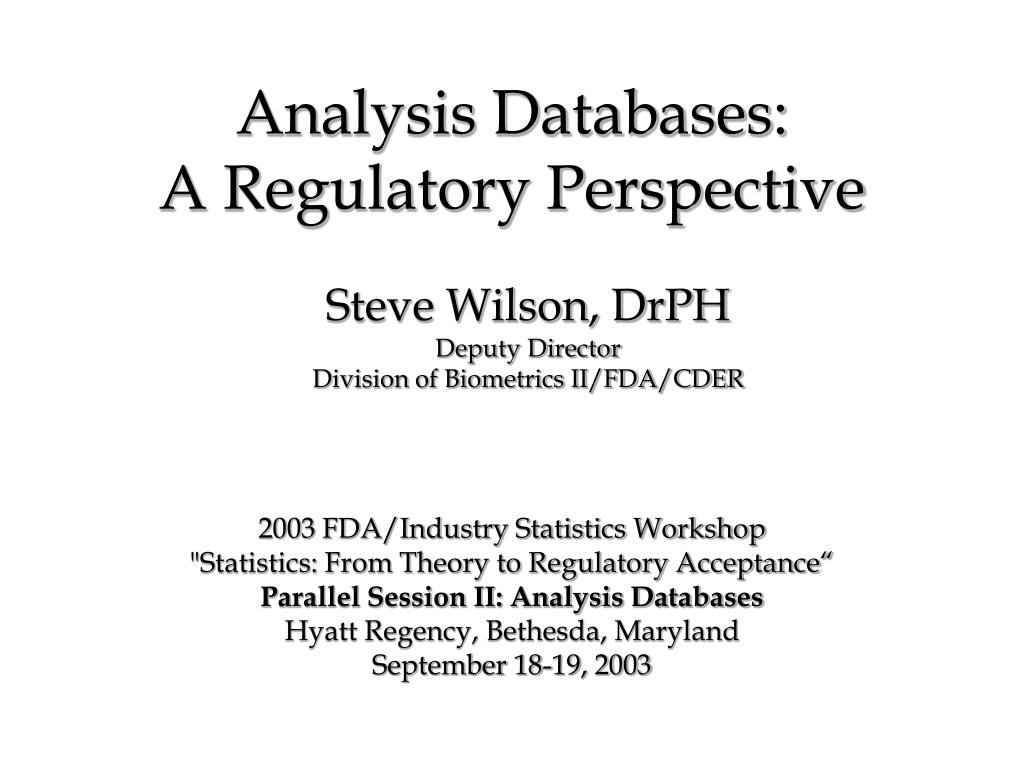 analysis databases a regulatory perspective