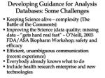 developing guidance for analysis databases some challenges