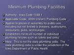 minimum plumbing facilities