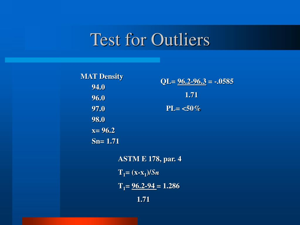 Test for Outliers