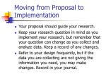 moving from proposal to implementation